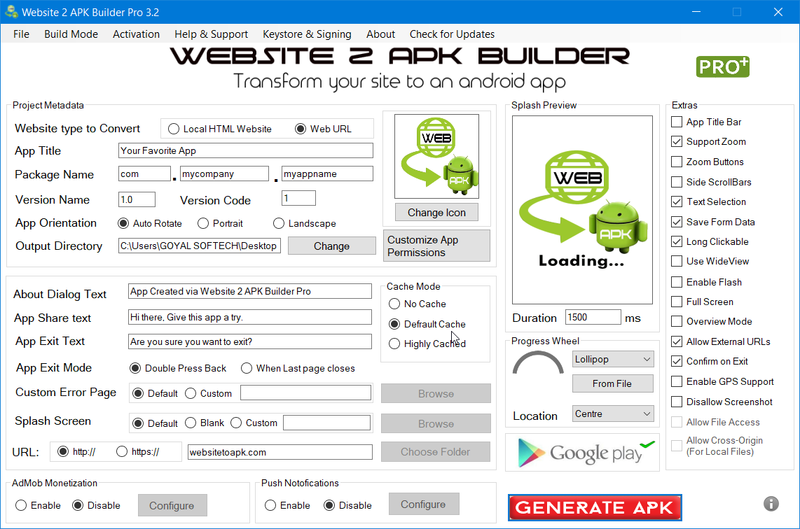 Website 2 Apk Builder Pro 3 3 1 Demo Anith